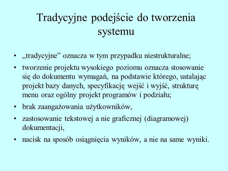 Tradycyjne podejście do tworzenia systemu tradycyjne oznacza w tym przypadku niestrukturalne; tworzenie projektu wysokiego poziomu oznacza stosowanie