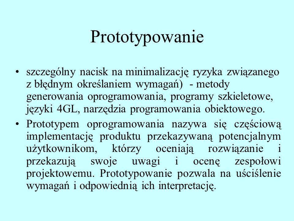 Prototypowanie szczególny nacisk na minimalizację ryzyka związanego z błędnym określaniem wymagań) - metody generowania oprogramowania, programy szkie