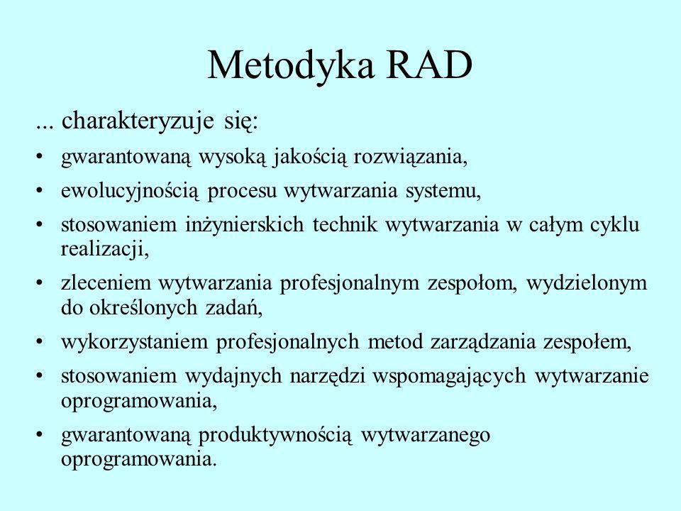 Metodyka RAD... charakteryzuje się: gwarantowaną wysoką jakością rozwiązania, ewolucyjnością procesu wytwarzania systemu, stosowaniem inżynierskich te