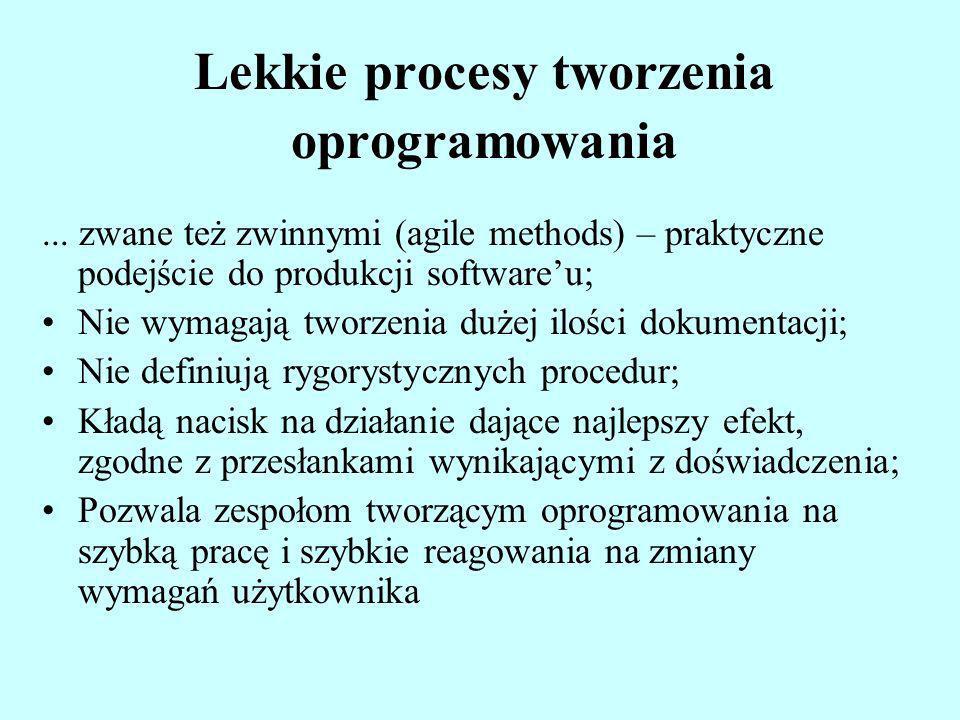 Lekkie procesy tworzenia oprogramowania... zwane też zwinnymi (agile methods) – praktyczne podejście do produkcji softwareu; Nie wymagają tworzenia du