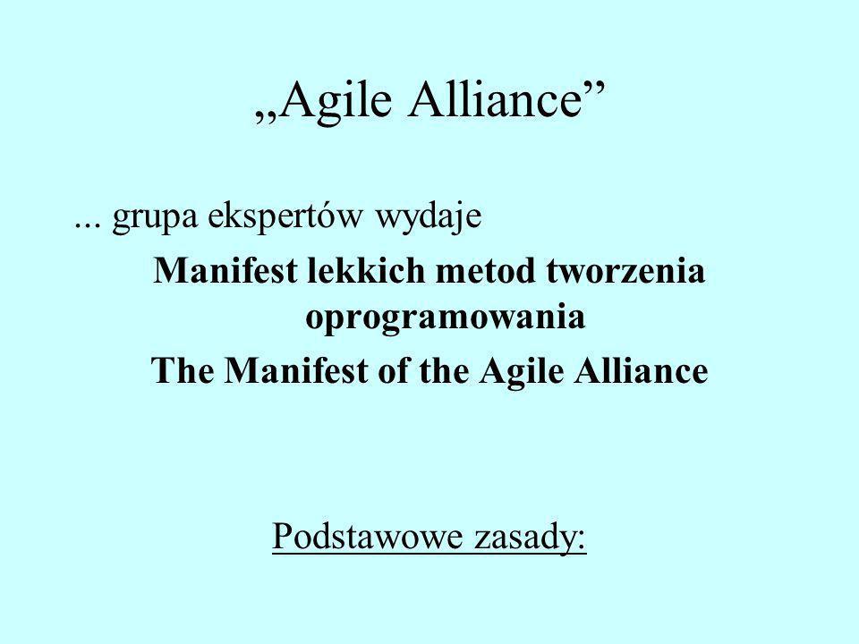 Agile Alliance... grupa ekspertów wydaje Manifest lekkich metod tworzenia oprogramowania The Manifest of the Agile Alliance Podstawowe zasady: