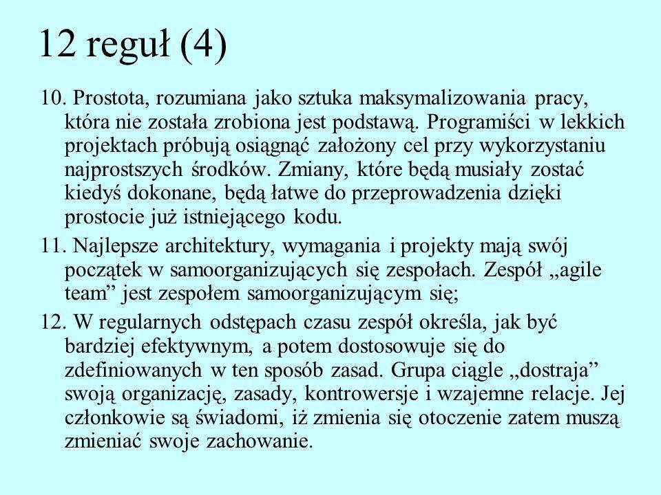 12 reguł (4) 10. Prostota, rozumiana jako sztuka maksymalizowania pracy, która nie została zrobiona jest podstawą. Programiści w lekkich projektach pr