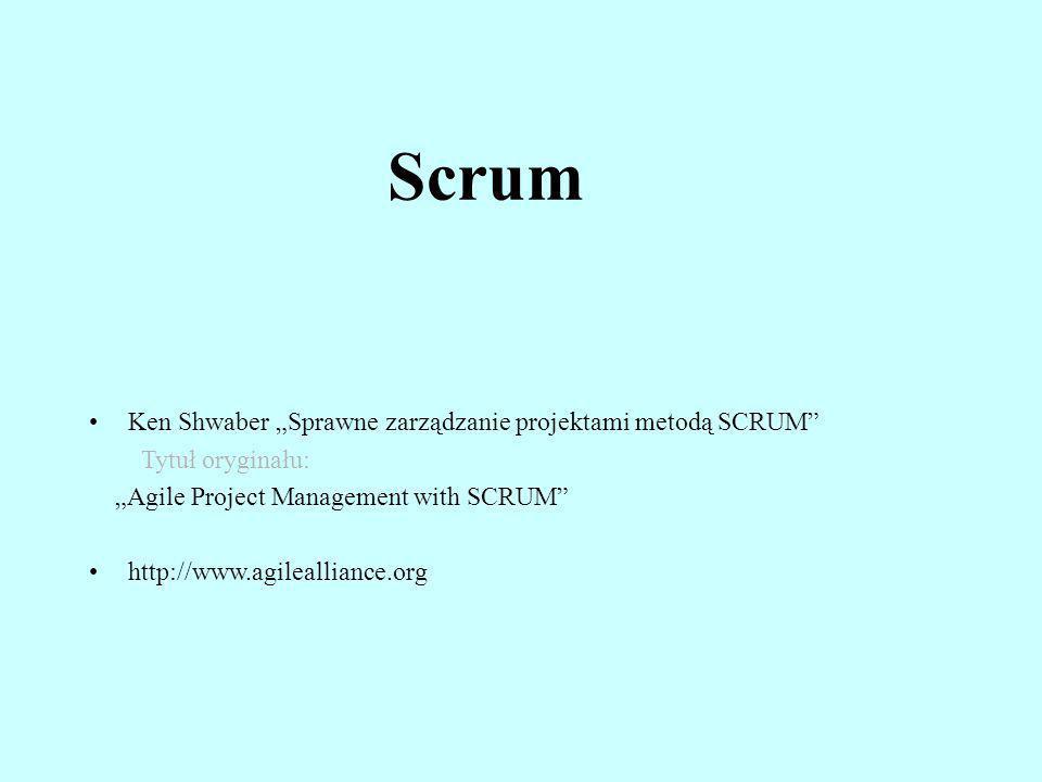 Scrum Ken Shwaber Sprawne zarządzanie projektami metodą SCRUM Tytuł oryginału: Agile Project Management with SCRUM http://www.agilealliance.org