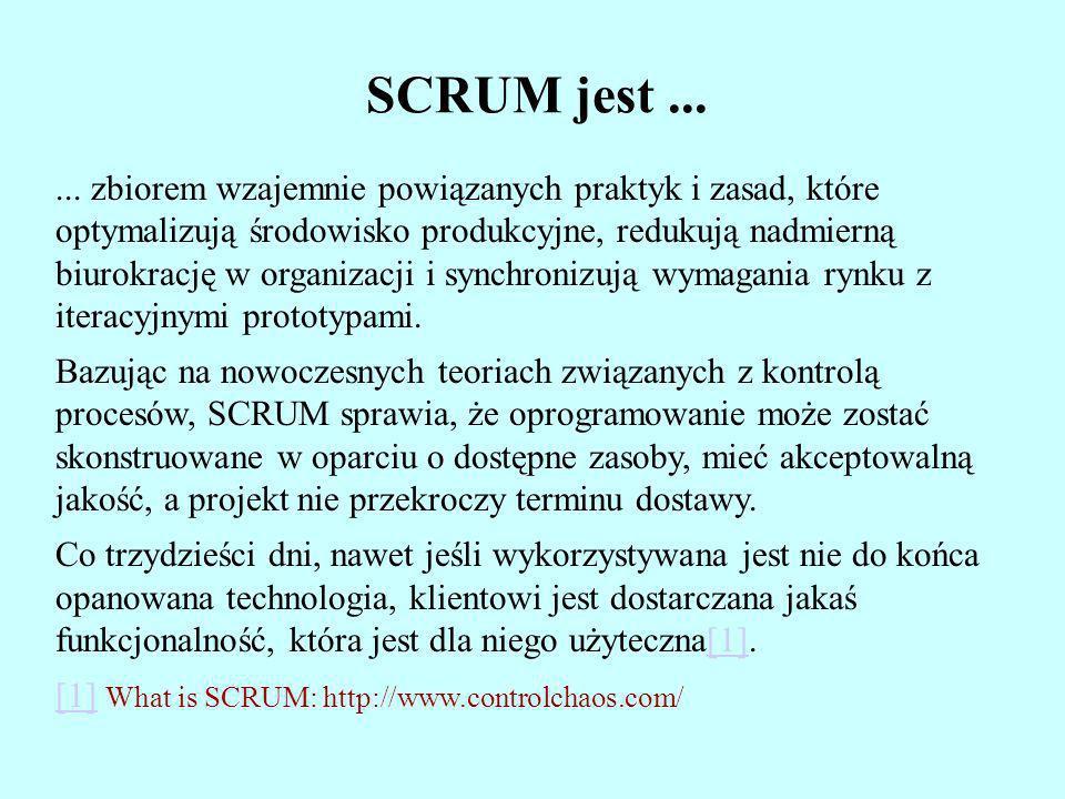 SCRUM jest...... zbiorem wzajemnie powiązanych praktyk i zasad, które optymalizują środowisko produkcyjne, redukują nadmierną biurokrację w organizacj