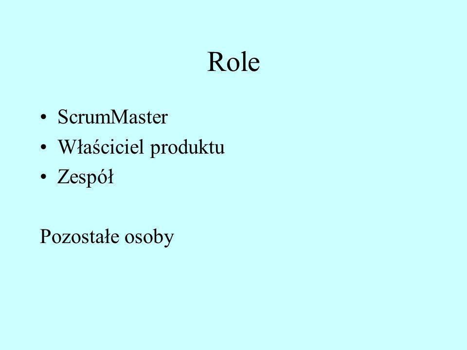 Role ScrumMaster Właściciel produktu Zespół Pozostałe osoby