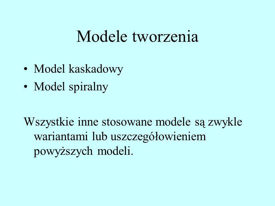 Model kaskadowy Tworzenie systemu podzielone na wyizolowane etapy; każdy z nich musi być zakończony, zanim rozpoczną się prace w następnym etapie; Wyjścia z jednego etapu są wykorzystywane jako wejścia do etapu następnego; Każdy etap podzielony jest na dwie części: części twórczej oraz weryfikacji i/lub zatwierdzenia; Ponowna praca, jeśli jest konieczna, jest wykonywana w kolejnych etapach bez powrotu na pierwotny etap, na którym dany produkt został utworzony, np.