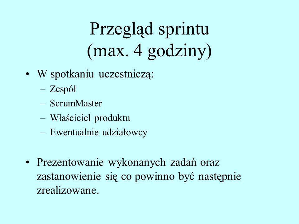 Przegląd sprintu (max. 4 godziny) W spotkaniu uczestniczą: –Zespół –ScrumMaster –Właściciel produktu –Ewentualnie udziałowcy Prezentowanie wykonanych