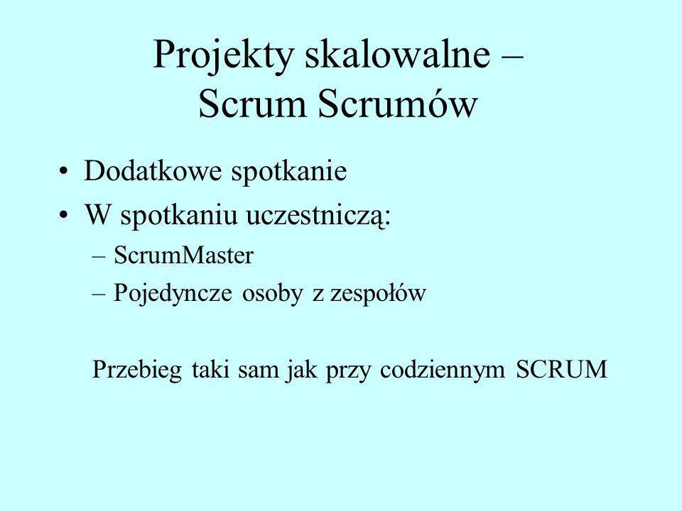 Projekty skalowalne – Scrum Scrumów Dodatkowe spotkanie W spotkaniu uczestniczą: –ScrumMaster –Pojedyncze osoby z zespołów Przebieg taki sam jak przy