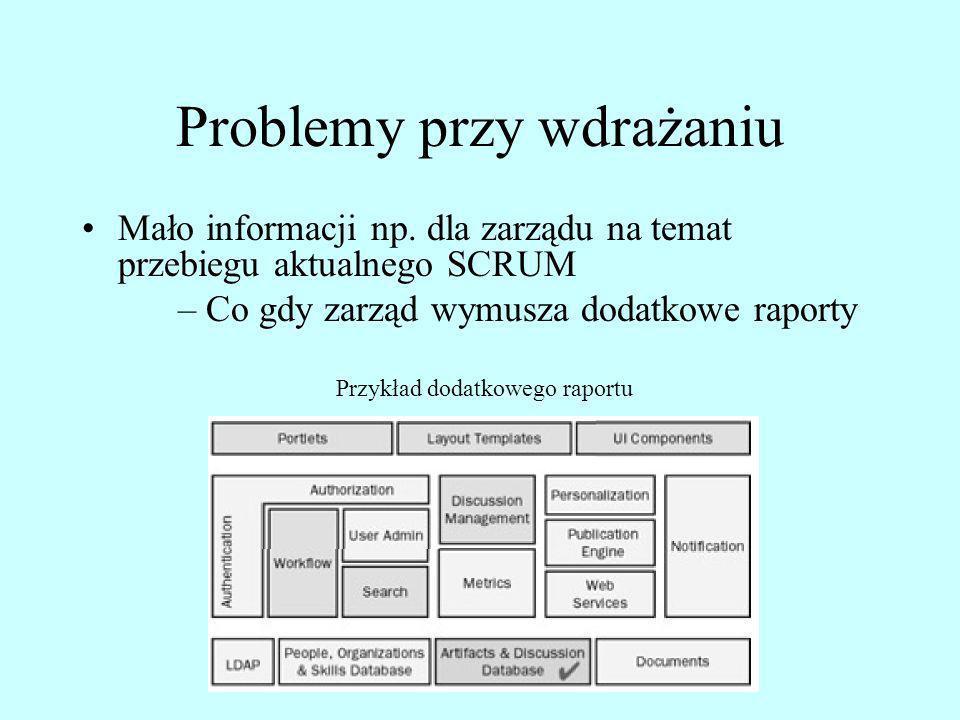 Problemy przy wdrażaniu Mało informacji np. dla zarządu na temat przebiegu aktualnego SCRUM – Co gdy zarząd wymusza dodatkowe raporty Przykład dodatko