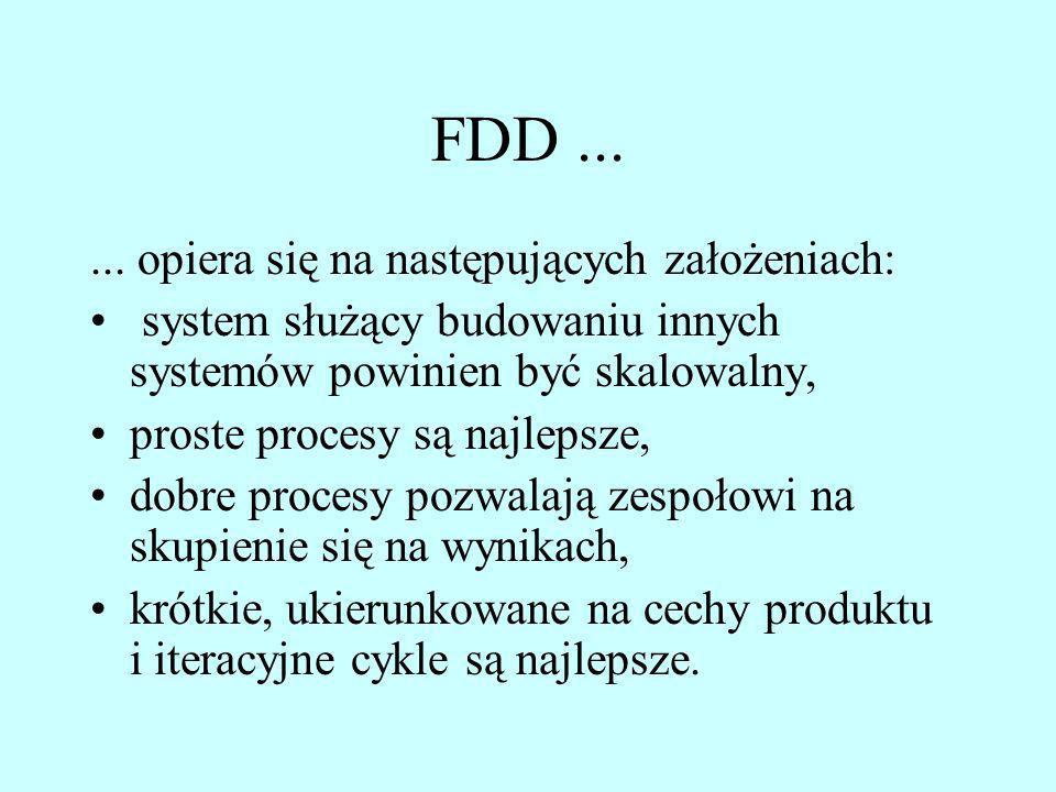 FDD...... opiera się na następujących założeniach: system służący budowaniu innych systemów powinien być skalowalny, proste procesy są najlepsze, dobr