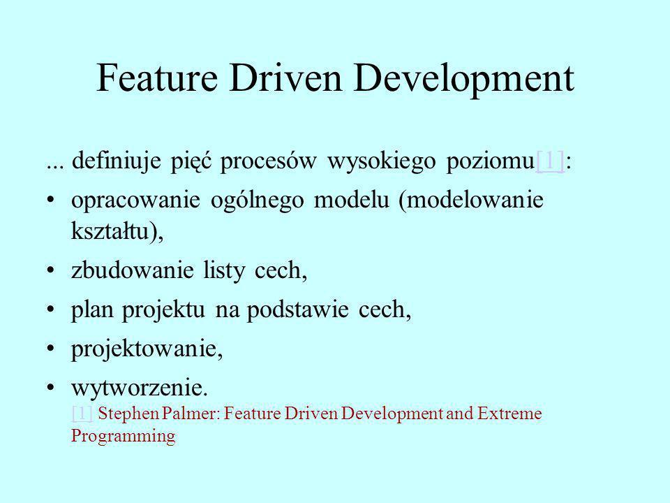 Feature Driven Development... definiuje pięć procesów wysokiego poziomu[1]:[1] opracowanie ogólnego modelu (modelowanie kształtu), zbudowanie listy ce