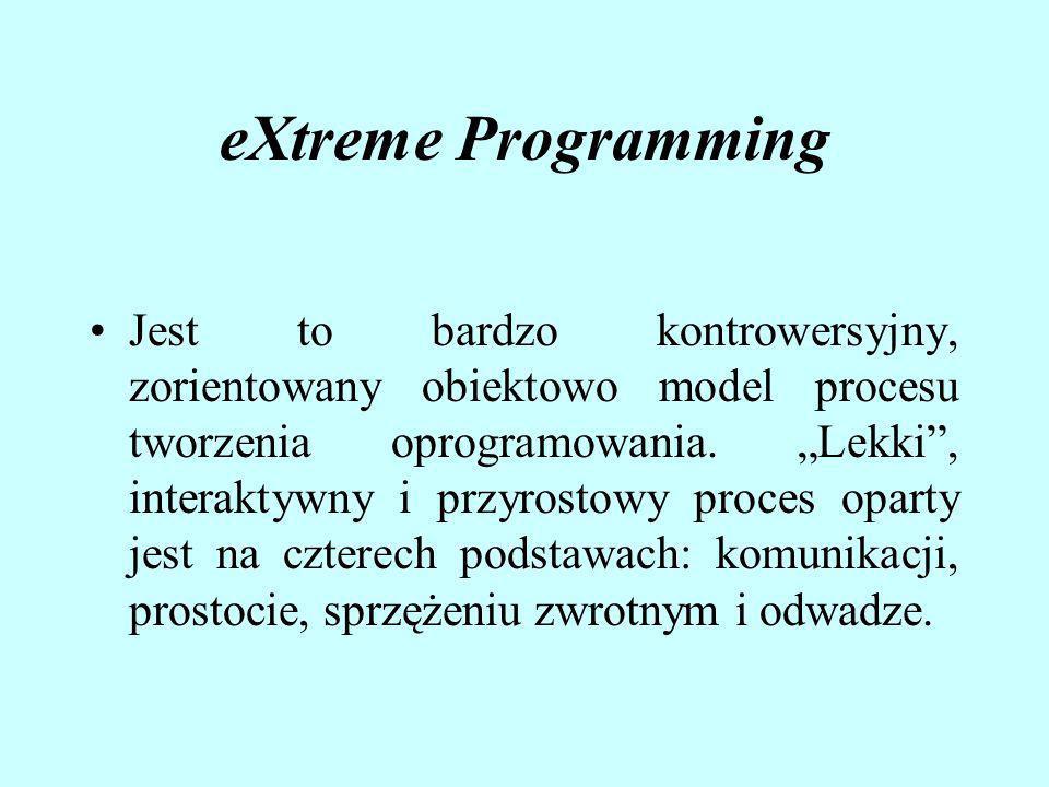 eXtreme Programming Jest to bardzo kontrowersyjny, zorientowany obiektowo model procesu tworzenia oprogramowania. Lekki, interaktywny i przyrostowy pr