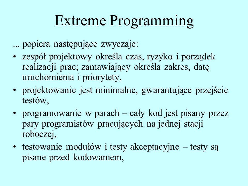 Extreme Programming... popiera następujące zwyczaje: zespół projektowy określa czas, ryzyko i porządek realizacji prac; zamawiający określa zakres, da