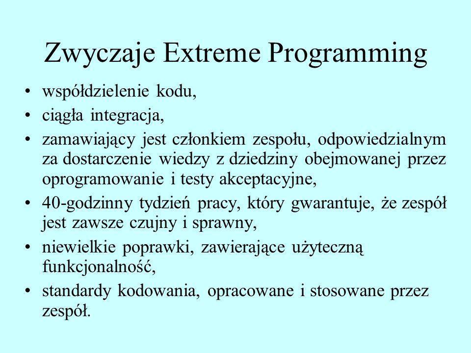 Zwyczaje Extreme Programming współdzielenie kodu, ciągła integracja, zamawiający jest członkiem zespołu, odpowiedzialnym za dostarczenie wiedzy z dzie