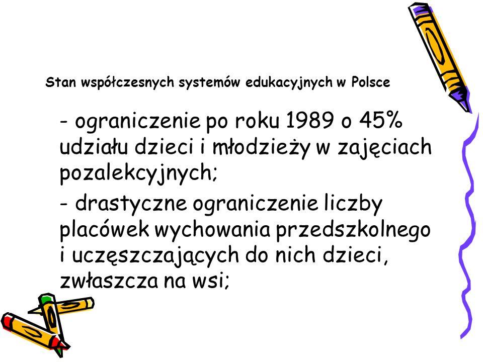 Stan współczesnych systemów edukacyjnych w Polsce - ograniczenie po roku 1989 o 45% udziału dzieci i młodzieży w zajęciach pozalekcyjnych; - drastyczn