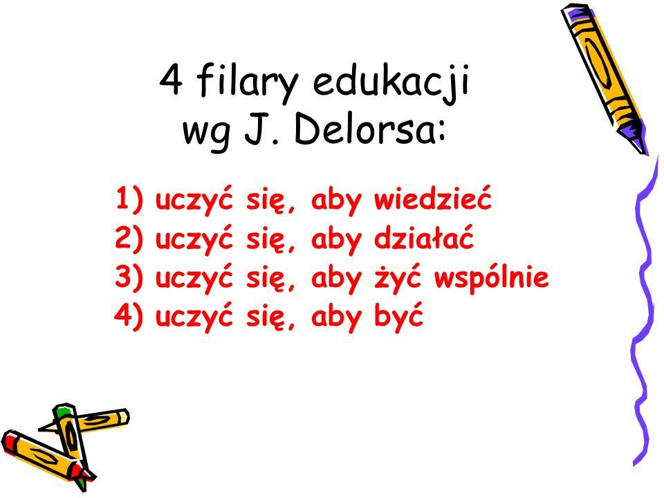 4 filary edukacji wg J. Delorsa: 1) uczyć się, aby wiedzieć 2) uczyć się, aby działać 3) uczyć się, aby żyć wspólnie 4) uczyć się, aby być
