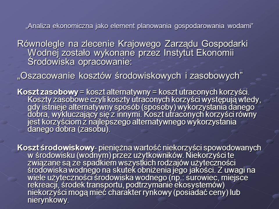 Analiza ekonomiczna jako element planowania gospodarowania wodami Wyniki oszacowania kosztów środowiskowych za rok 2006 W skali całego kraju: 6,7 mld PLN dla wód śródlądowych 6,7 mld PLN dla wód śródlądowych 14,8 mld PLN dla wód śródlądowych i Bałtyku 14,8 mld PLN dla wód śródlądowych i Bałtyku Podział na sektory generujące te koszty: 67% gospodarka komunalna 67% gospodarka komunalna 9% przemysł 9% przemysł 24% rolnictwo 24% rolnictwo
