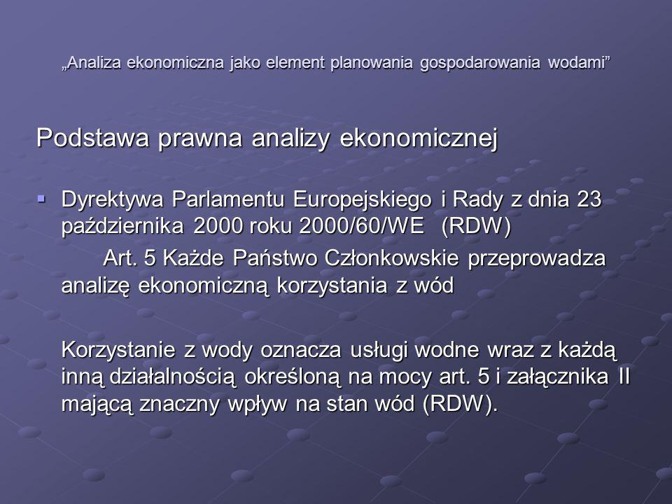 Analiza ekonomiczna jako element planowania gospodarowania wodami Podstawa prawna analizy ekonomicznej Dyrektywa Parlamentu Europejskiego i Rady z dni