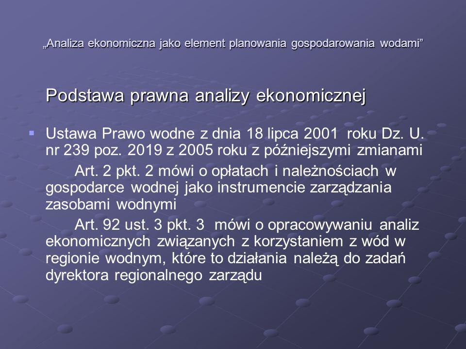Analiza ekonomiczna jako element planowania gospodarowania wodami Podstawa prawna analizy ekonomicznej Ustawa Prawo wodne z dnia 18 lipca 2001 roku Dz