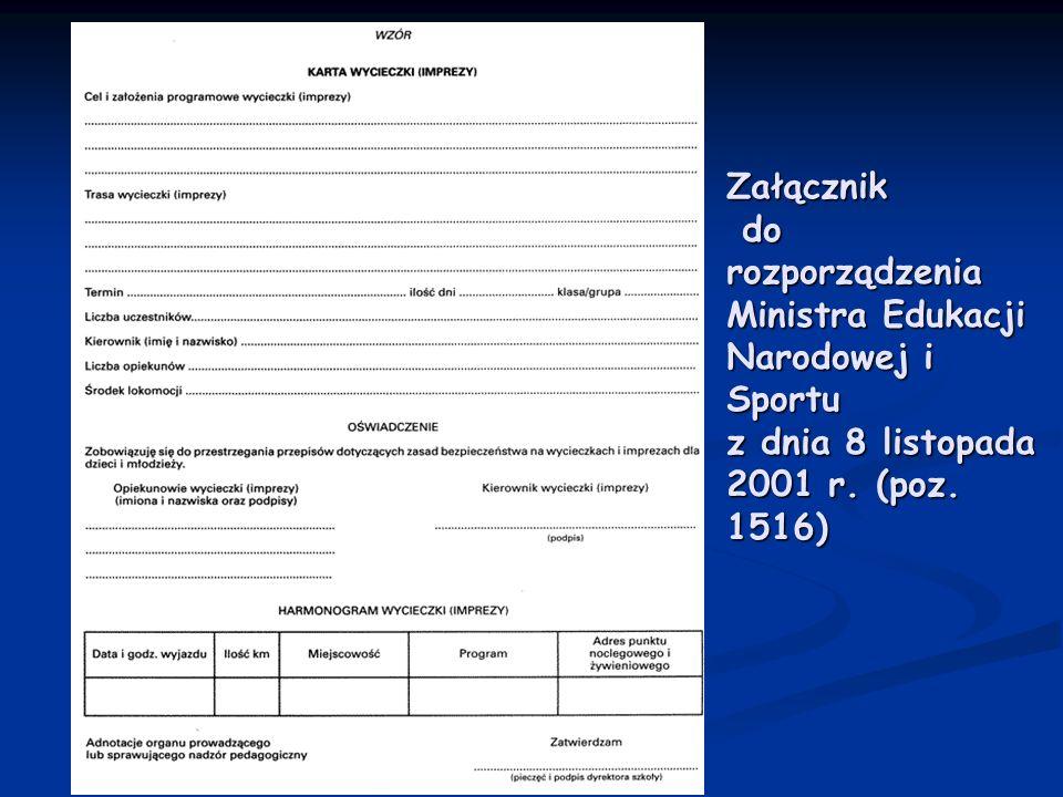 Załącznik do rozporządzenia Ministra Edukacji Narodowej i Sportu z dnia 8 listopada 2001 r. (poz. 1516)