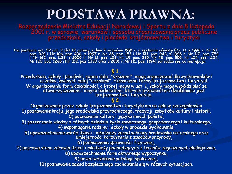 PODSTAWA PRAWNA: Rozporządzenie Ministra Edukacji Narodowej i Sportu z dnia 8 listopada 2001 r. w sprawie warunków i sposobu organizowania przez publi