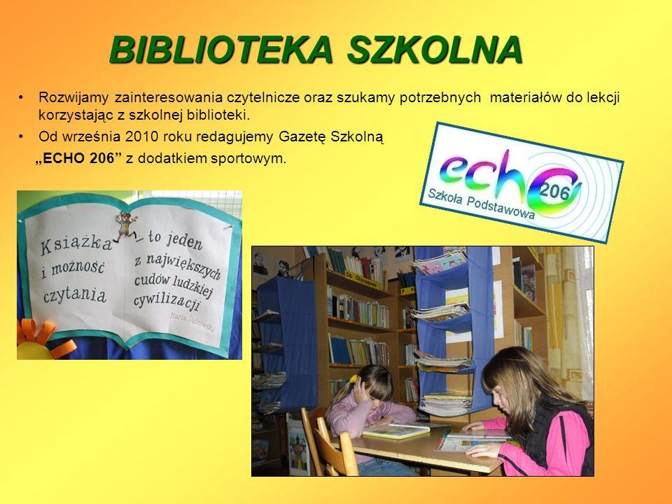 BIBLIOTEKA SZKOLNA Rozwijamy zainteresowania czytelnicze oraz szukamy potrzebnych materiałów do lekcji korzystając z szkolnej biblioteki. Od września