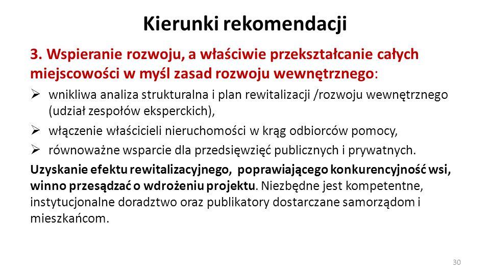 Kierunki rekomendacji 3. Wspieranie rozwoju, a właściwie przekształcanie całych miejscowości w myśl zasad rozwoju wewnętrznego: wnikliwa analiza struk