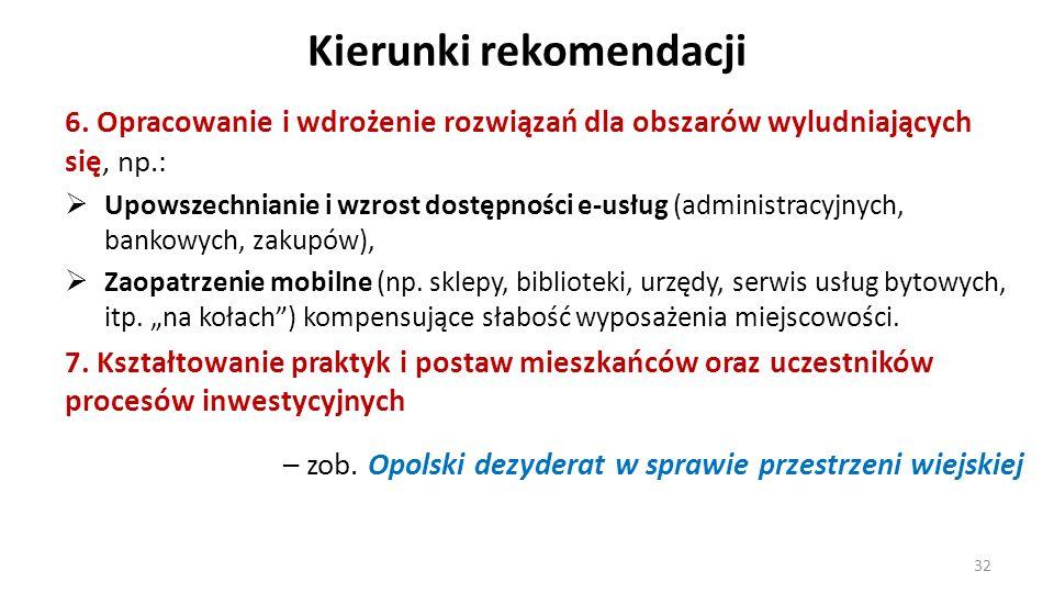 Kierunki rekomendacji 6. Opracowanie i wdrożenie rozwiązań dla obszarów wyludniających się, np.: Upowszechnianie i wzrost dostępności e-usług (adminis