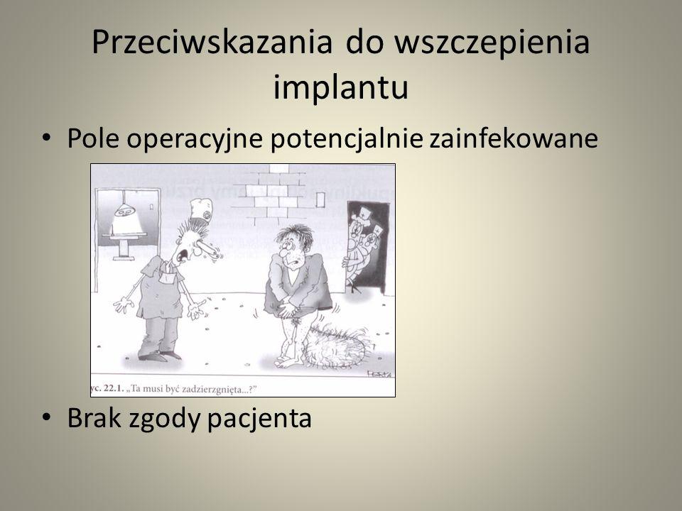 Przeciwskazania do wszczepienia implantu Pole operacyjne potencjalnie zainfekowane Brak zgody pacjenta