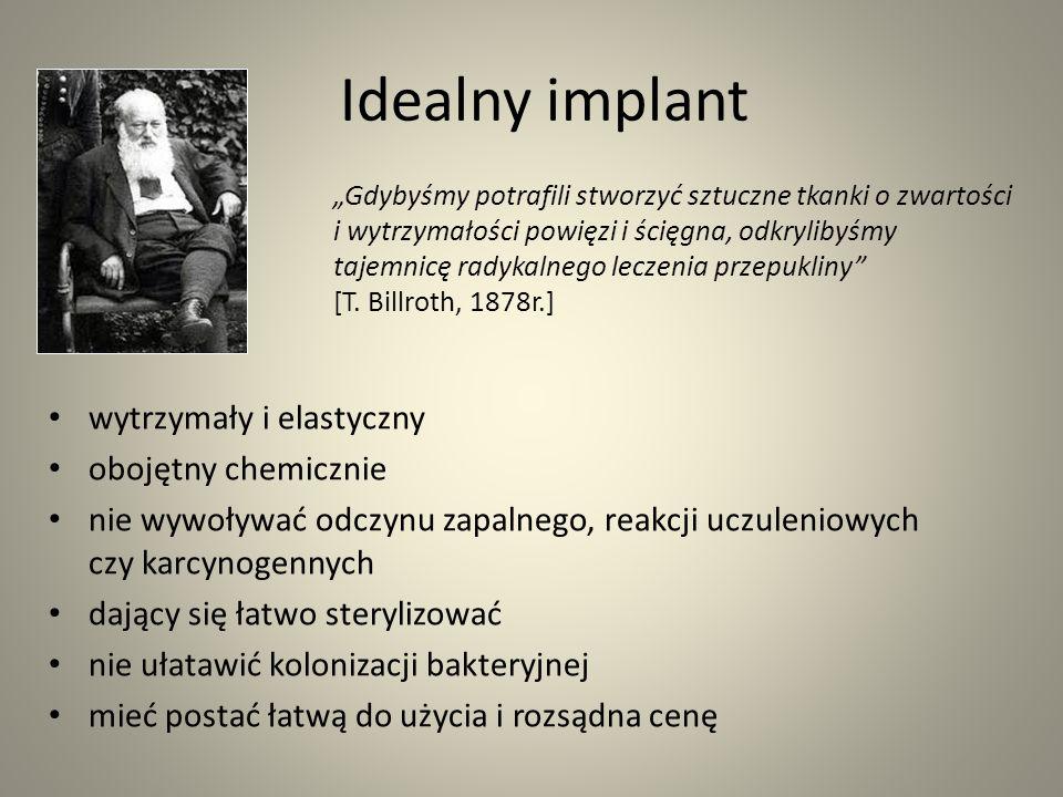 Idealny implant wytrzymały i elastyczny obojętny chemicznie nie wywoływać odczynu zapalnego, reakcji uczuleniowych czy karcynogennych dający się łatwo