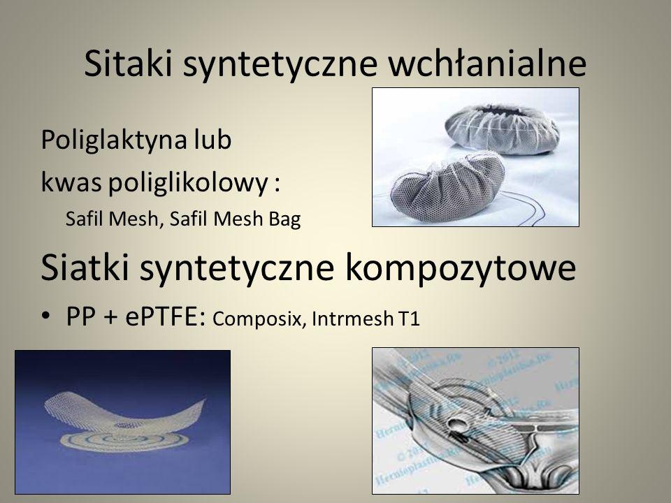 Sitaki syntetyczne wchłanialne Poliglaktyna lub kwas poliglikolowy : Safil Mesh, Safil Mesh Bag Siatki syntetyczne kompozytowe PP + ePTFE: Composix, I