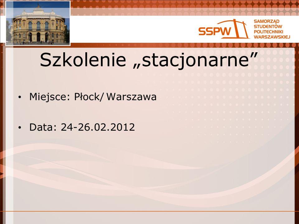 Szkolenie stacjonarne Miejsce: Płock/Warszawa Data: 24-26.02.2012