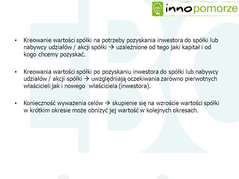 Kreowanie wartości spółki na potrzeby pozyskania inwestora do spółki lub nabywcy udziałów / akcji spółki uzależnione od tego jaki kapitał i od kogo ch