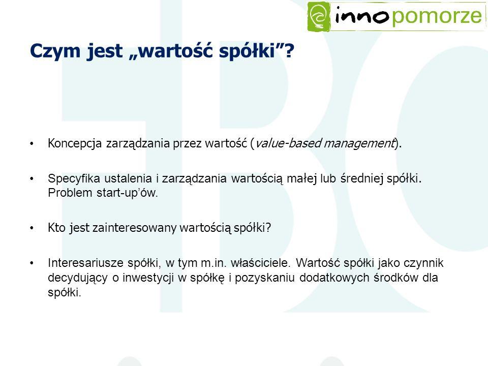 Czym jest wartość spółki? Koncepcja zarządzania przez wartość (value-based management). Specyfika ustalenia i zarządzania w artoś cią małej lub średni