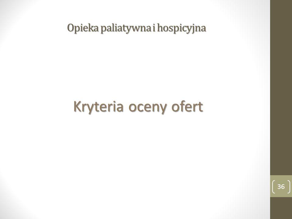 Opieka paliatywna i hospicyjna Kryteria oceny ofert 36