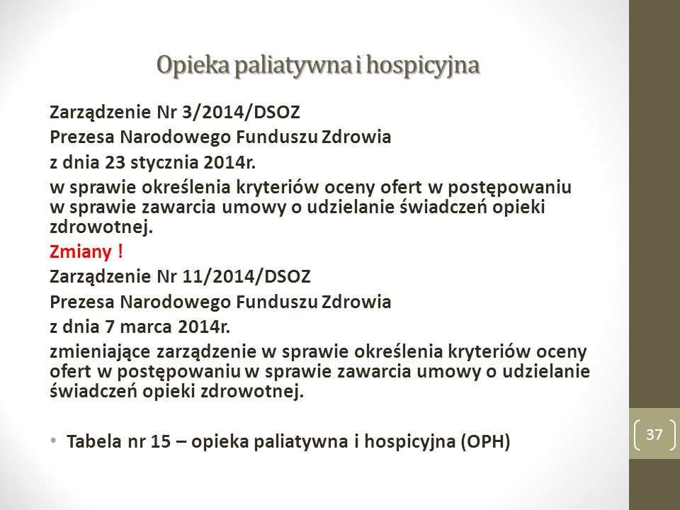 Opieka paliatywna i hospicyjna Zarządzenie Nr 3/2014/DSOZ Prezesa Narodowego Funduszu Zdrowia z dnia 23 stycznia 2014r. w sprawie określenia kryteriów