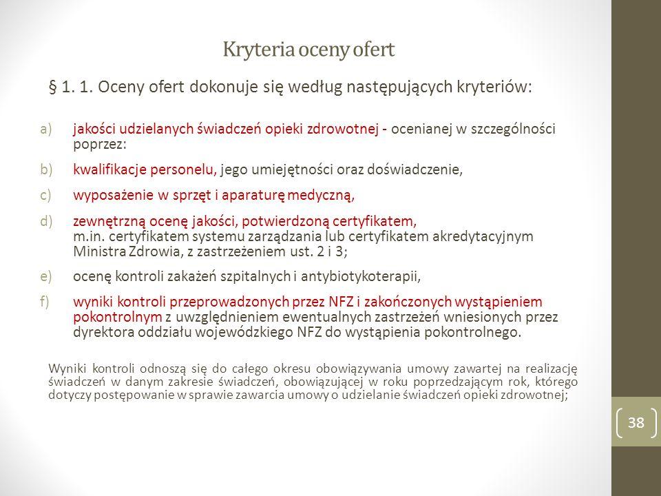 Kryteria oceny ofert § 1.1.