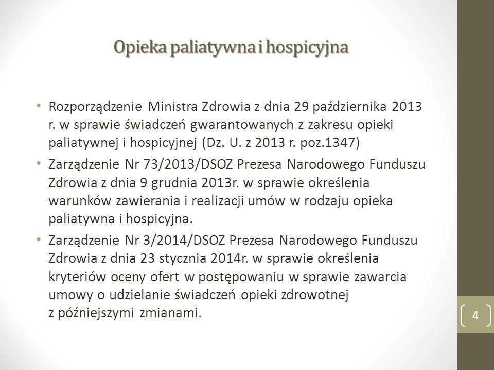 Opieka paliatywna i hospicyjna Rozporządzenie Ministra Zdrowia z dnia 29 października 2013 r. w sprawie świadczeń gwarantowanych z zakresu opieki pali