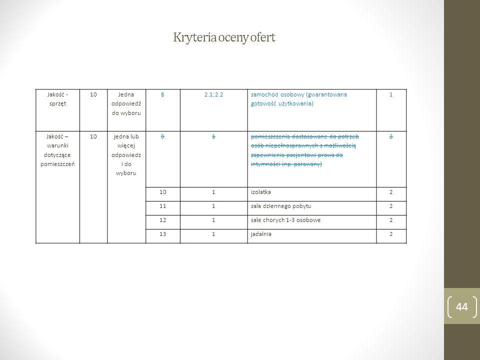 Kryteria oceny ofert 44 Jakość - sprzęt 10 Jedna odpowiedź do wyboru 82.1;2.2 samochód osobowy (gwarantowana gotowość użytkowania) 1 Jakość – warunki