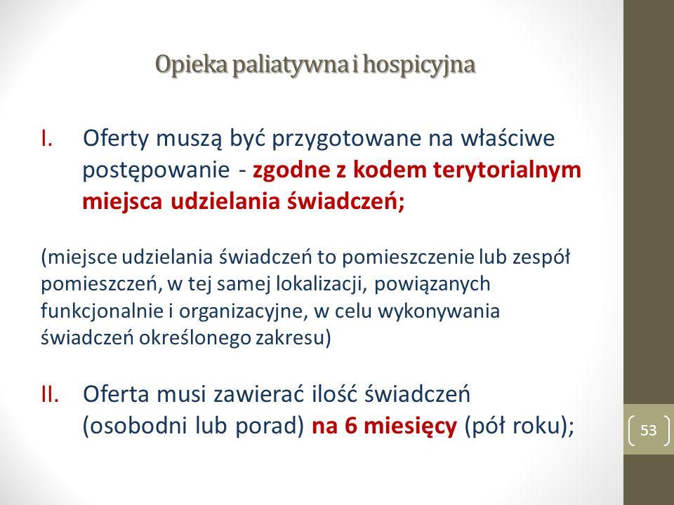 Opieka paliatywna i hospicyjna I.Oferty muszą być przygotowane na właściwe postępowanie - zgodne z kodem terytorialnym miejsca udzielania świadczeń; (