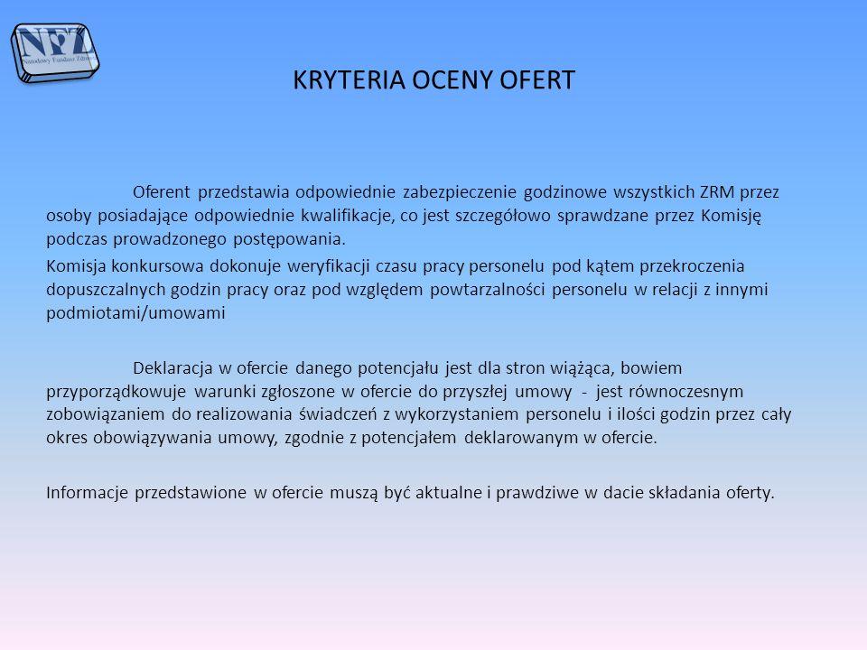 KRYTERIA OCENY OFERT Oferent przedstawia odpowiednie zabezpieczenie godzinowe wszystkich ZRM przez osoby posiadające odpowiednie kwalifikacje, co jest