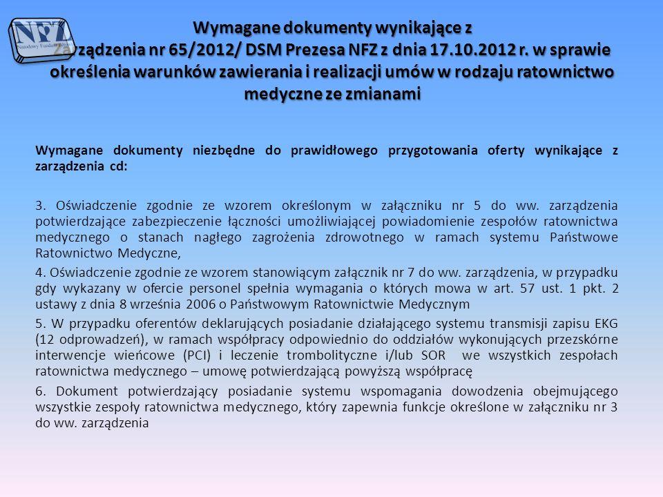 Wymagane dokumenty wynikające z Zarządzenia nr 65/2012/ DSM Prezesa NFZ z dnia 17.10.2012 r. w sprawie określenia warunków zawierania i realizacji umó