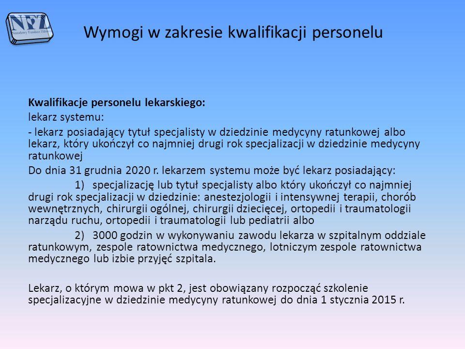 Wymogi w zakresie kwalifikacji personelu Kwalifikacje personelu lekarskiego: lekarz systemu: - lekarz posiadający tytuł specjalisty w dziedzinie medyc