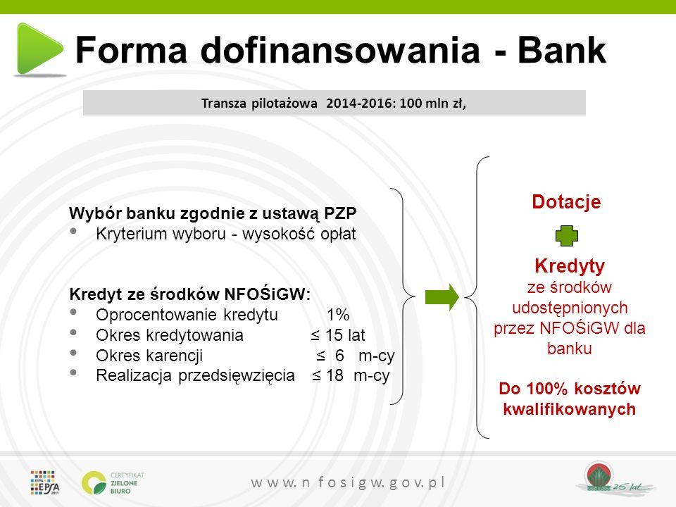 w w w. n f o s i g w. g o v. p l Wybór banku zgodnie z ustawą PZP Kryterium wyboru - wysokość opłat Kredyt ze środków NFOŚiGW: Oprocentowanie kredytu