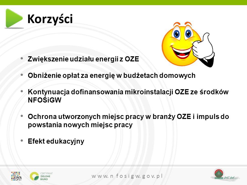 w w w. n f o s i g w. g o v. p l Zwiększenie udziału energii z OZE Obniżenie opłat za energię w budżetach domowych Kontynuacja dofinansowania mikroins