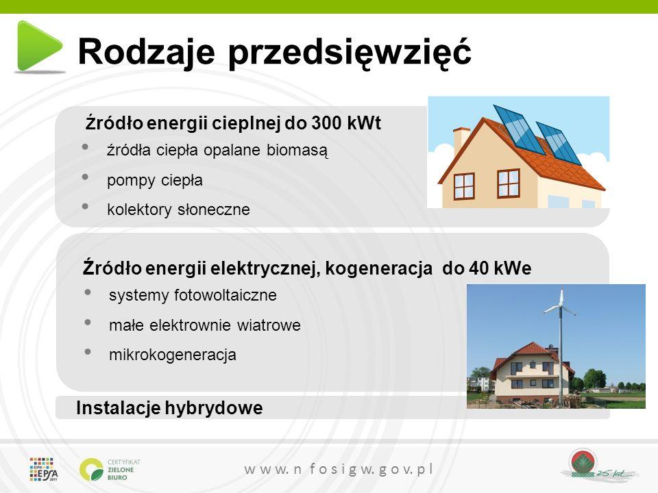 w w w. n f o s i g w. g o v. p l Rodzaje przedsięwzięć Ź ródło energii cieplnej do 300 kWt źródła ciepła opalane biomasą pompy ciepła kolektory słonec