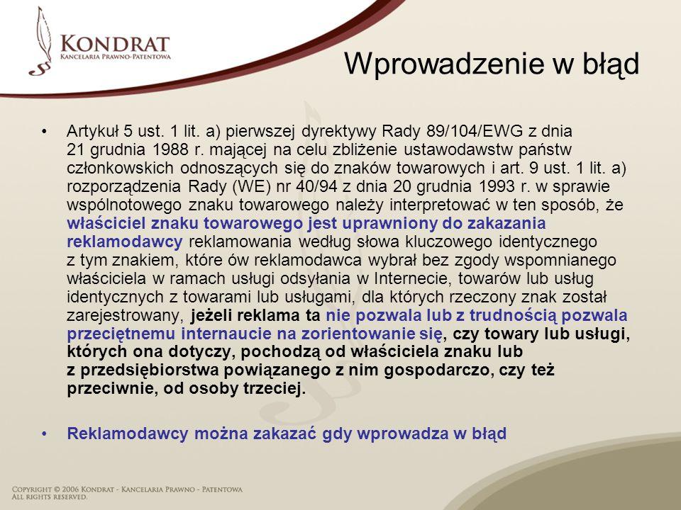 Wprowadzenie w błąd Artykuł 5 ust. 1 lit. a) pierwszej dyrektywy Rady 89/104/EWG z dnia 21 grudnia 1988 r. mającej na celu zbliżenie ustawodawstw pańs