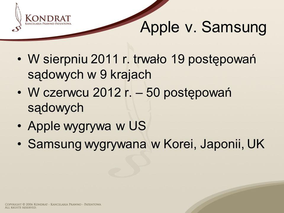 Apple v. Samsung W sierpniu 2011 r. trwało 19 postępowań sądowych w 9 krajach W czerwcu 2012 r. – 50 postępowań sądowych Apple wygrywa w US Samsung wy