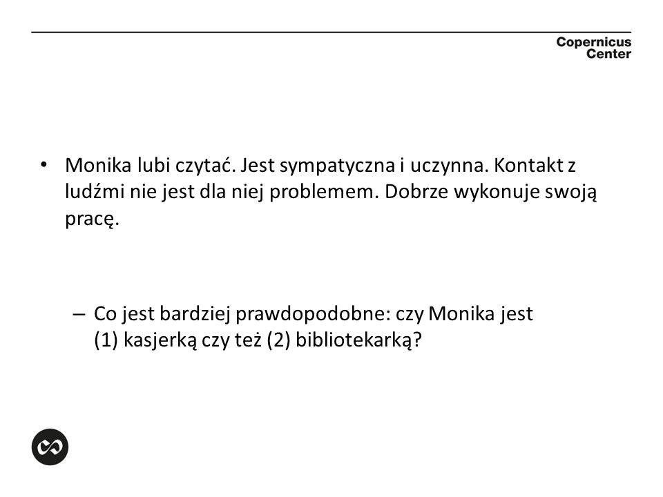 Monika lubi czytać. Jest sympatyczna i uczynna. Kontakt z ludźmi nie jest dla niej problemem. Dobrze wykonuje swoją pracę. – Co jest bardziej prawdopo