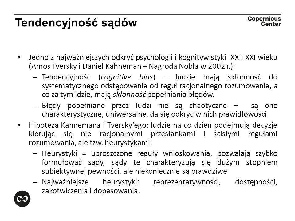 Tendencyjność sądów Jedno z najważniejszych odkryć psychologii i kognitywistyki XX i XXI wieku (Amos Tversky i Daniel Kahneman – Nagroda Nobla w 2002